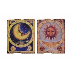 Set doua picturi vintagepe lemn  cu luna si soarele