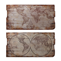 Set doua picturi vintage pe lemn cu harta lumii
