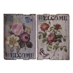 Set doua picturi vintage pe lemn cu flori