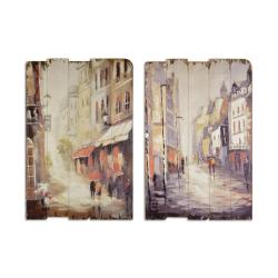Set doua picturi vintage cu o strada noaptea