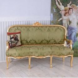 Sofa baroc din lemn masiv auriu cu tapiterie din matase verde