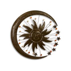 Decoratiune de perete cu luna din fier forjat antik brown