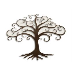 Set doua decoratiune de perete din metal cu copac