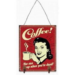 Decoratiune de perete din metal cu o reclama la cafea