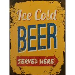 Decoratiune de perete din metal cu o reclama la bere