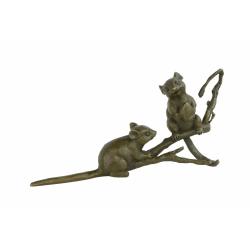 Doi soareci - statueta vieneza din bronz masiv