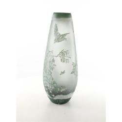 Peisaj de primavara- vaza din sticla pictata in relief