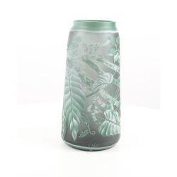 Frunze verzi- vaza din sticla pictata in relief