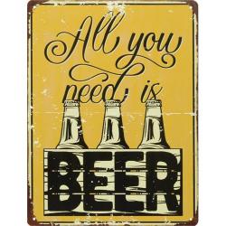 Decoratiune din metal cu o reclama la bere
