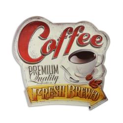 Decoratiune din metal cu o reclama la cafea