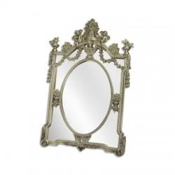 Oglinda argintie cu o rama decorativa din rasini