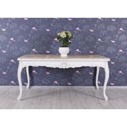 Masa din lemn masiv alb cu blat maro