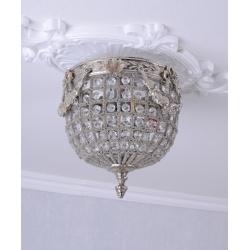 Plafoniera mica din cristal cu decoratiuni argintii