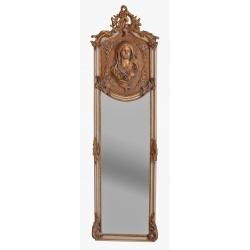 Oglinda Judgendstill din cristal cu o rama alba cu auriu cu o doamna