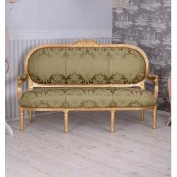 Sofa Madamme Pompandour din lemn masiv auriu cu tapiterie verde