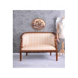 Sofa din lemn masiv mahon cu capete de lebada si tapiterie din matase
