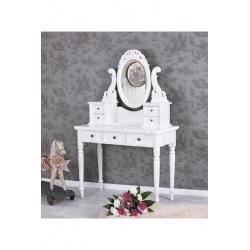 Masa de toaleta din lemn masiv alb cu oglinda