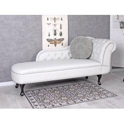Sofa din lemn masiv negru cu tapiterie din piele alba