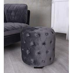 Scaun puf din lemn masiv cu tapiterie gri soarece