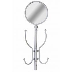 Cuier cu oglinda din metal alb antichizat