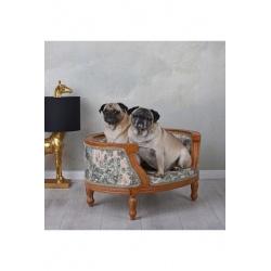 Canapea pentru caine din lemn masiv mahon cu tapiterie colorata