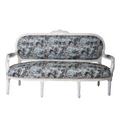 Sofa Madame Pompadour din lemn masiv alb cu tapiterie colorata