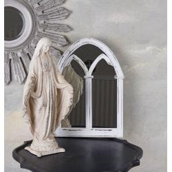 Oglinda fereastra cu rama din lemn masiv alb antichizat