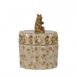 Bomboniera din portelan cu ursulet din bronz
