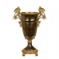 Vaza din portelan negru cu pasari din bronz