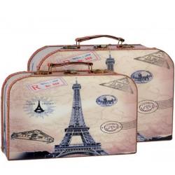 Set doua valize nostalgice din lemn cu Turnul Eiffel