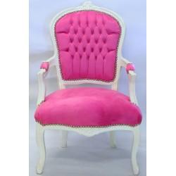 Scaun baroc din lemn masiv alb cu tapiterie roz