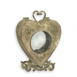 Felinar in forma de inima  din alama masiva antichizata