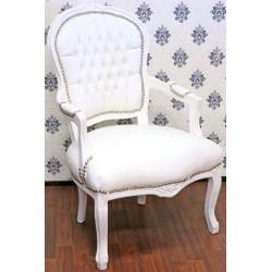 Scaun baroc din lemn masiv alb cu tapiterie alba