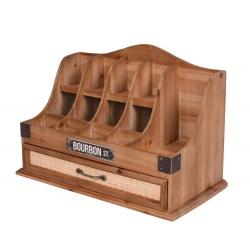 Organizator de birou din lemn masiv maro