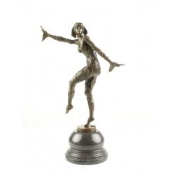 Dansatoare singura-statueta Art Deco din bronz pe un soclu din marmura