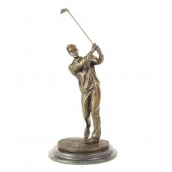 Jucator de golf-statueta din bronz pe un soclu din marmura
