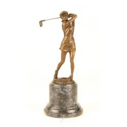 Jucatoare de golf-statueta din bronz pe un soclu din marmura