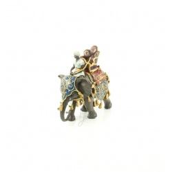 Arab calare pe elefant-statueta din bronz pictat