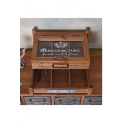 Cutie pentru tacamuri din lemn masiv maro cu sticla
