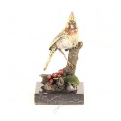 Pasare cardinal- statueta din bronz pe un soclu din marmura