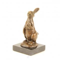 Iepurasul de Paste-statueta din bronz pe un soclu din marmura