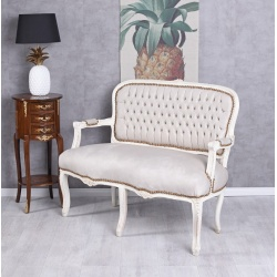 Sofa baroc din lemn masiv alb  cu tapiterie din catifea grej