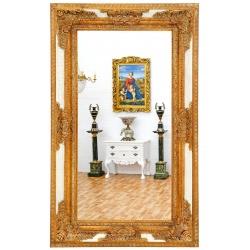 Oglinda monumentala cu o rama alba cu auriu