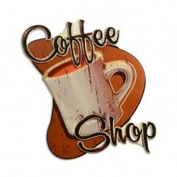 Decoratiune din metal cu un magazin de cafea