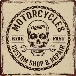 Tablou din metal cu service motociclete