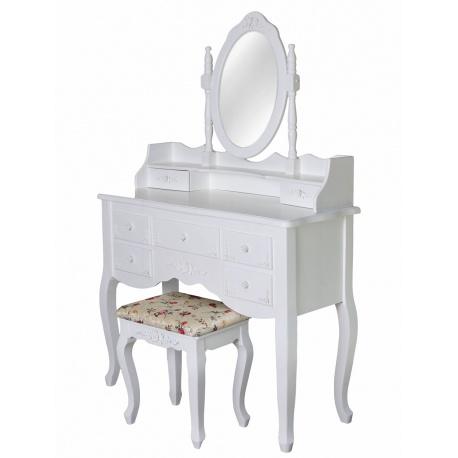 Masa de toaleta din lemn masiv alb cu oglinda si scaun