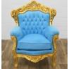 Fotoliu baroc din lemn masiv auriu cu tapiterie bleu