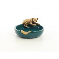 Scrumiera din portelan cu un urs din bronz
