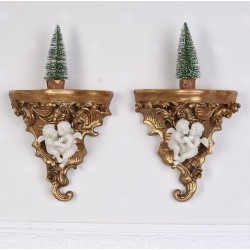 Set doua console din rasini cu decoratiuni cu ingerasi