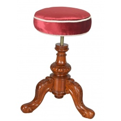 Scaun deosebit din lemn mahon cu tapiserie rosie